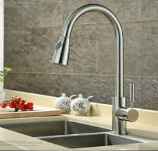 Homdox Pull out Sprayer Kitchen Faucet Brushed Nickel Single Hole Sink