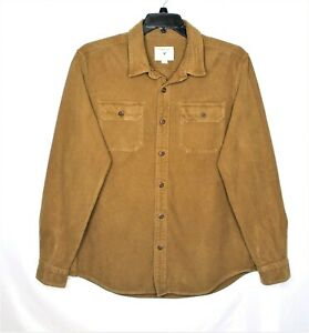 American-Eagle-Outfitter-Mens-XL-Denim-Brown-Button-Up-Long-Sleeve-Shirt-Rugged