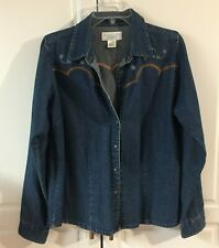 Womens Wrangler Blues Size Large Denim Pearl Snap Western Embroidered Shirt