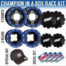 "DWT Blue Champion in a Box 10"" Front 8"" Rear Rims Beadlock Rings TRX 400 LTZ 250"