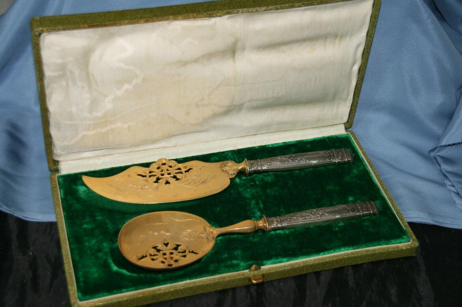 Couverts de service couteau et pelle à dessert en métal argenté 1900 art nouveau
