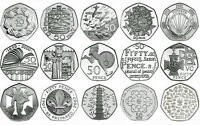 UK 50p PROOF ENGLISH DECIMAL FIFTY PENCE COINS CHOICE OF DATE 1971-2015