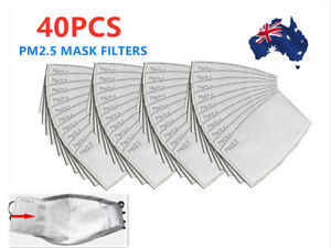 40 PCS PM2.5 P2 Face Mask Filter Activated Carbon Breathing (Only Filters) AU