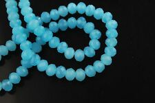 100Ps Jade Lt Blue Crystal Glass Faceted Rondelle Bead 4mm Spacer Finding Charms