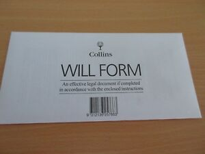 2 x Collins Australian DIY Will Kit Form / Envelope / Instructions free postage
