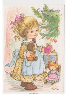 Felicitacion-Anos-80-Tarjeta-Postal-Navidad-Vintage-Chica-Juguetes-Oso-Muneca