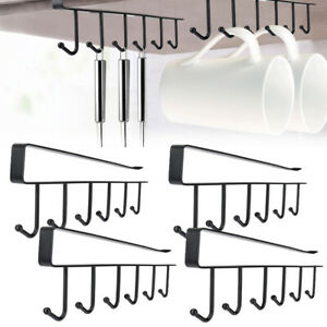 2-4X-Kitchen-Under-Cabinet-Towel-Cup-Paper-Hanger-Rack-Organizer-Shelf-Holder