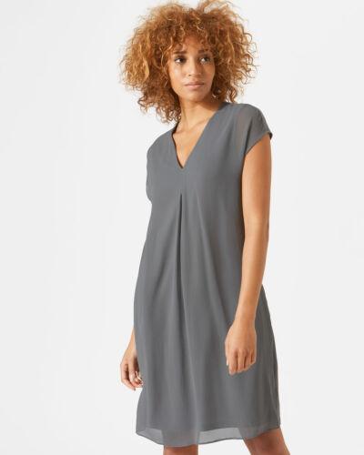 Jigsaw Pleat Front Silk Flare Dress Womens New Grey RAIN GREY