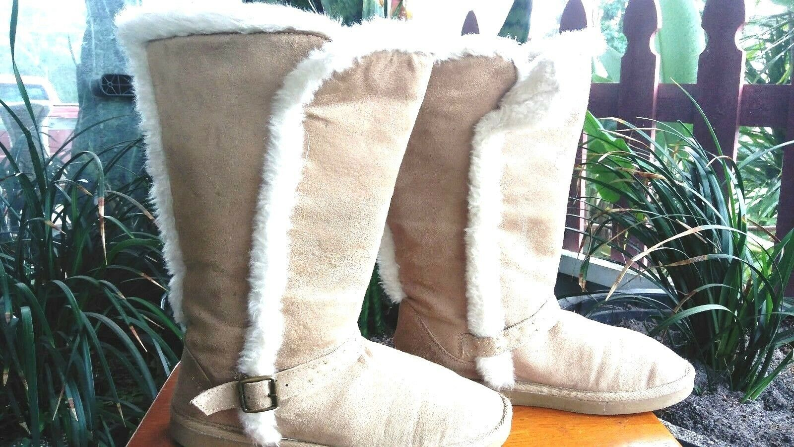 JUSTICE femmes SUEDE LEATHER BEIGE  FUR LINED bottes Taille 9
