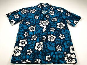 Aloha-Republic-Men-039-s-M-Hawaiian-Button-Shirt-Blue-White-Floral-Vintage-Medium