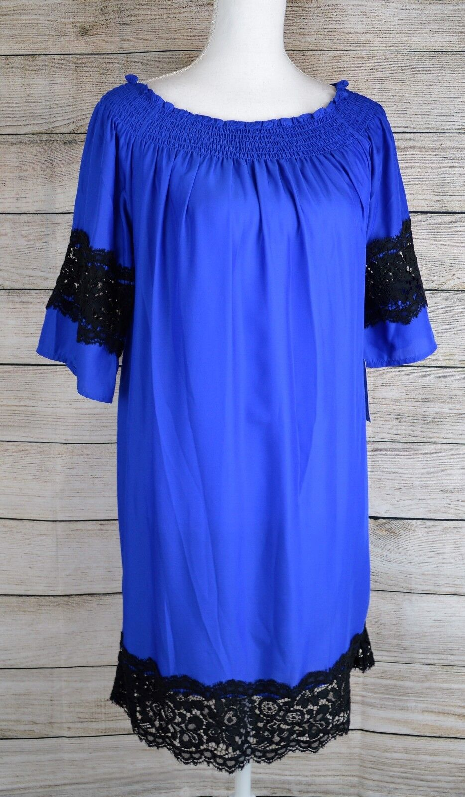 Felicity & Coco Off the Shoulder Shift Dress Lace Trim Elbow Sleeve bluee Small S