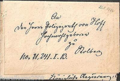 Vorphilatelie Altdeutschland Boten Faltbrief Herr von Hoff zu Stolberg von 1856