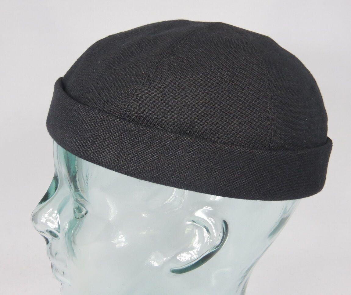 Bullani sailorcap Dockermütze Docker Hat Black Skullcap ROLL EDGE LINEN NEW