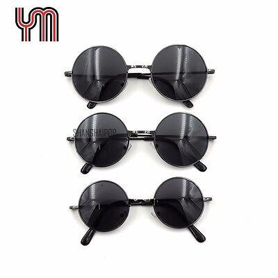 Small Dark Silver Frame Sunglasses 60's Round Lens Shades Retro Kids Women Men