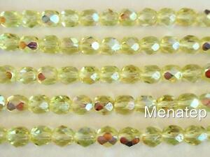 Siam//Ruby AB 25 6 mm Czech Glass Firepolish Beads