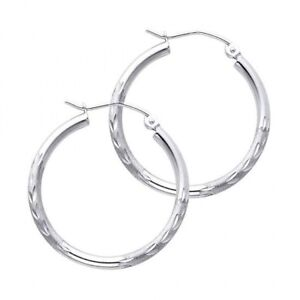 14K-Fancy-Solid-White-Gold-Diamond-Cut-Sand-Finish-Hoop-Earrings-Italy-2-mm