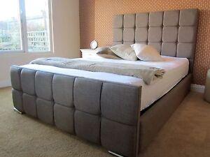 Image is loading Horton-Upholstered-Fabric-Bed-Storage-3-039-Single- & Horton Upholstered Fabric Bed Storage 3u0027 Single 4u00276 Double 5u0027 King 6 ...
