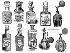 FRENCH FURNITURE DECAL SHABBY CHIC IMAGE TRANSFER VINTAGE PERFUME BOTTLE STICKER