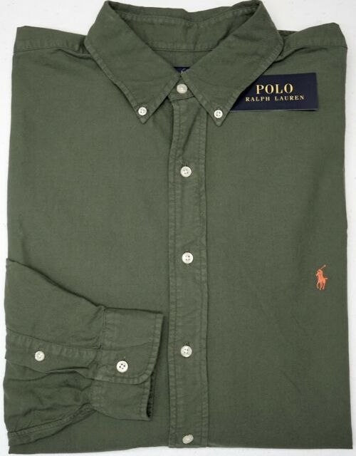 NEW $110 Polo Ralph Lauren Cotton Oxford Long Sleeve Shirt Mens Green NWT