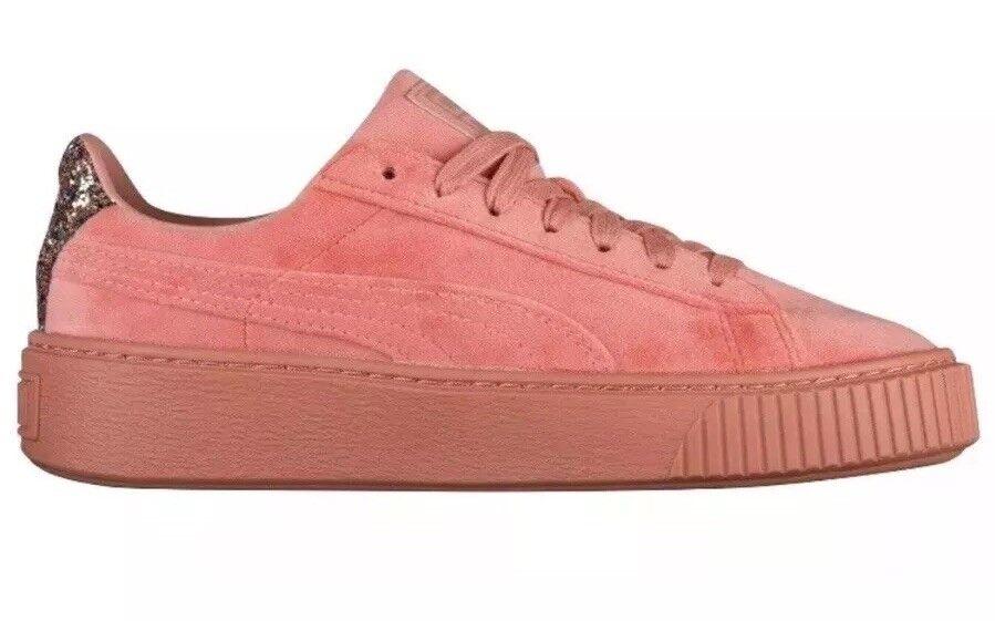 Puma Platform Velvet Crushed Gem Größe Damens's Größe Gem 7.5 Cameo Braun Pink NEW 366497-02 3210a4