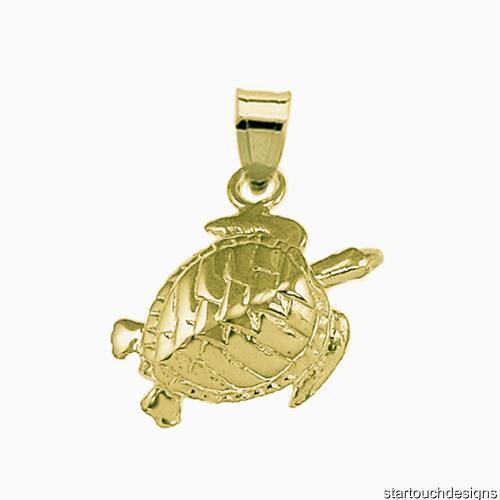 New 14k gold Sea Turtle Pendant