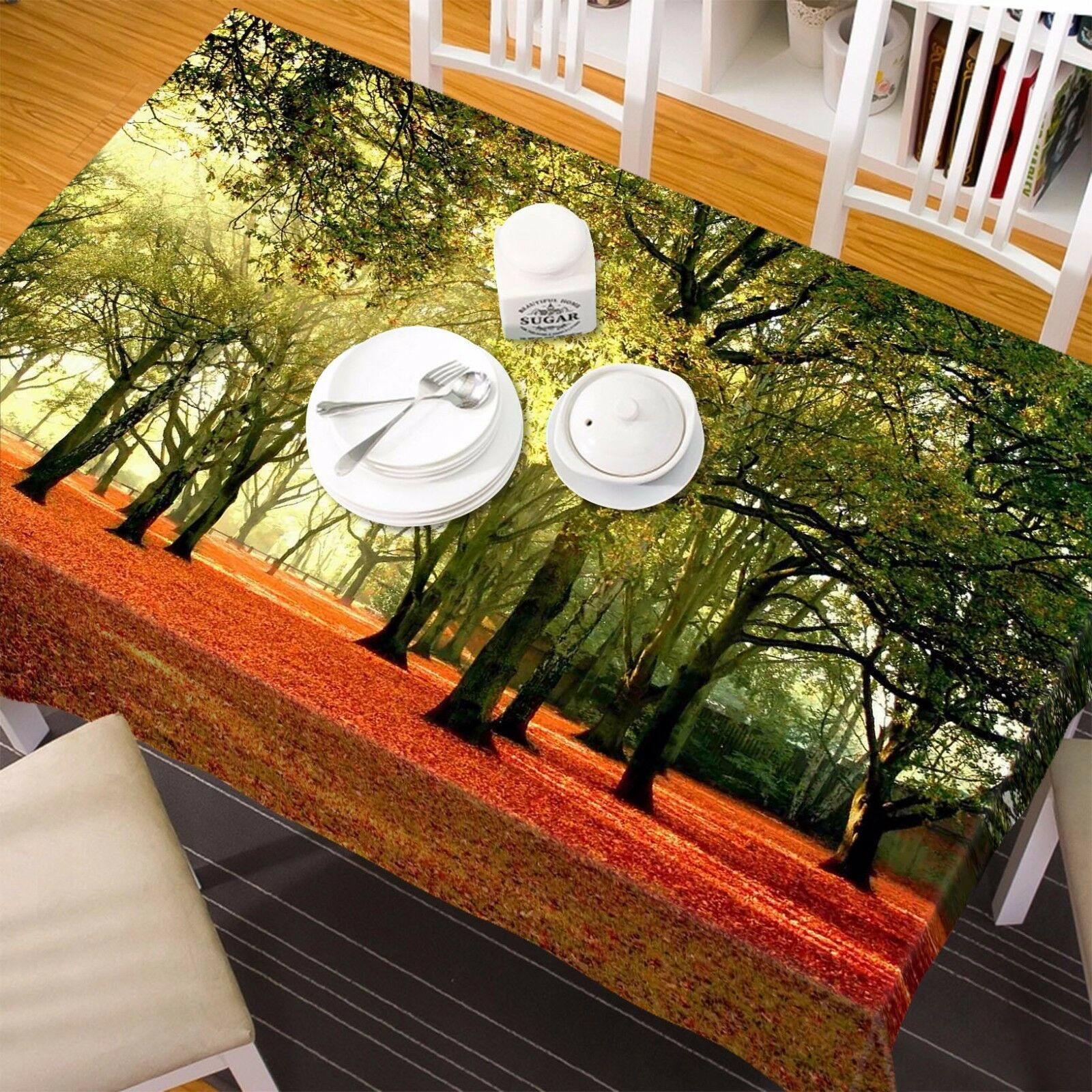 3D Forest 55 Nappe Table Cover Cloth fête d'anniversaire AJ papier peint Royaume-Uni Citron