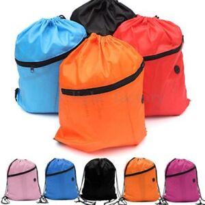 Drawstring-Duffle-Sack-Bag-Sport-Swim-Gym-School-Dance-Zip-Waterproof-Backpack