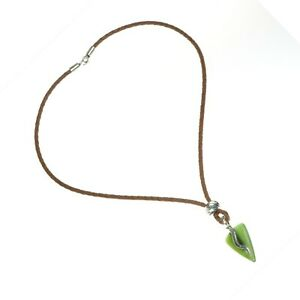 Nephrite-Jade-Artisan-SS-Pendant-Necklace-Triangle-Arrow-Leather-Cord-Good-Luck