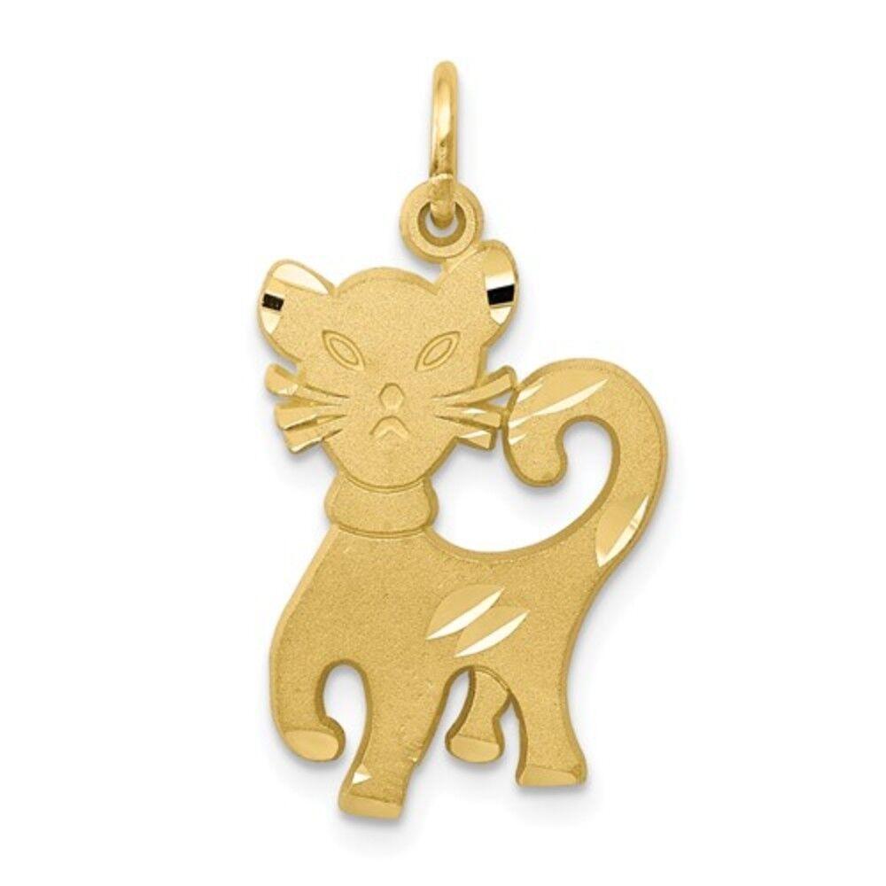 Ladies Modern 10K Yellow gold Cat Kitten Animal Cute Charm Pendant - 25mm