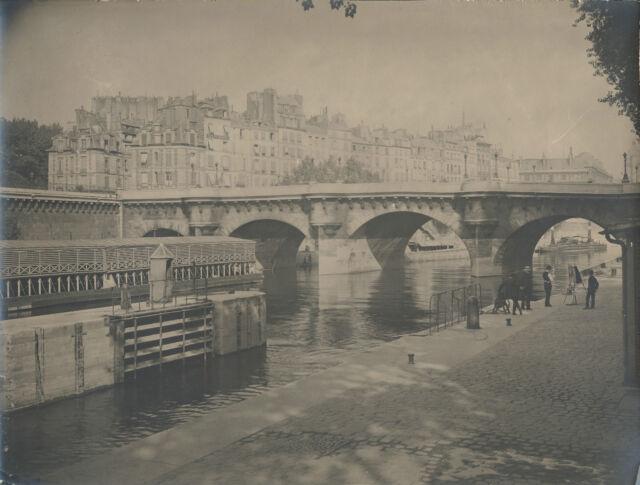 PHOTOGRAPHIE ANIMEE PONT NEUF PARIS 1918 TIRAGE ARGENTIQUE D'EPOQUE