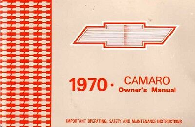 1970 Chevrolet Camaro Owners Manual User Guide Reference Operator Book Fuses OEM