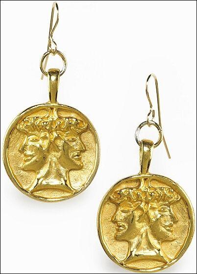 Etruscan Double-Headed Janus Earrings 24K gold Plate 0.85  in Diameter