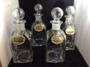 Image Is Loading Vintage 4 Gl Liquor Decanter Bottles W Stoppers