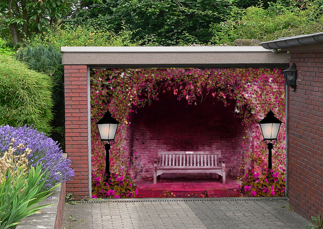 3D Flower bench 01 Garage Door Murals Wall Print Decal Wall Deco AJ WALLPAPER UK