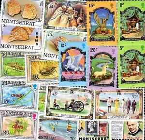 MONTSERRAT collections de 25 à 200 timbres différents