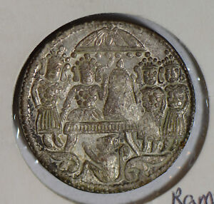 India-1890-circa-Ramtanko-temple-token-silver-lustrous-lord-ram-rare-this-grade