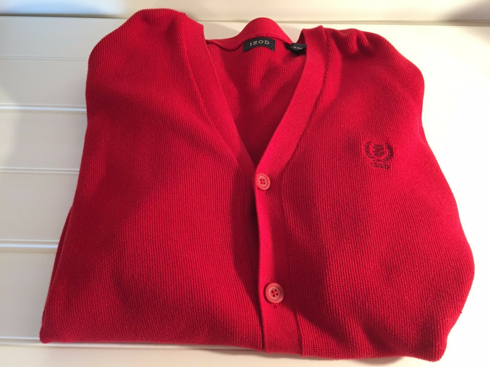 IZOD LACOSTE VINTAGE Red COTTON CARDIGAN SWEATER XL 20394
