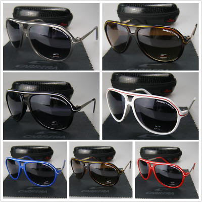 New Men Women Retro Sunglasses Matte Gary Frame Carrera Glasses+Box C27