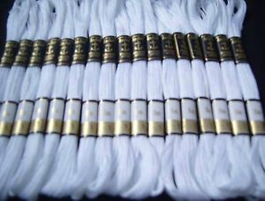 25-White-ANCHOR-Cotton-Floss-Thread-8-mtr-each