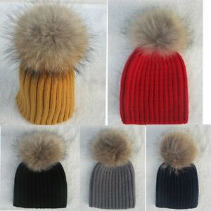87a9ea75731 Child Baby Women Winter Knit Beanie Raccoon Fur Pom Bobble Hats ...