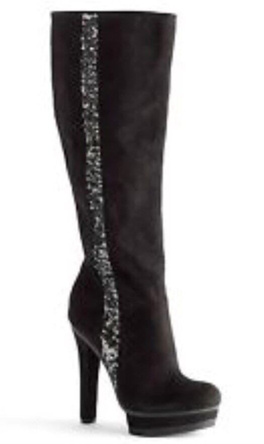 NWB femmes's Jennifer Lopez Malina Suede Sequin Knee High Platform bottes Taille 6