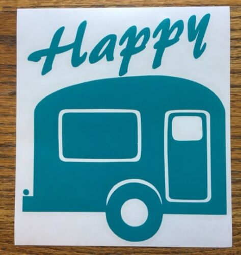 "C 19 * Happy Camper Turquoise 6/"" Autocollant Voiture Décalque Gypsy Rétro Airstream dehors"