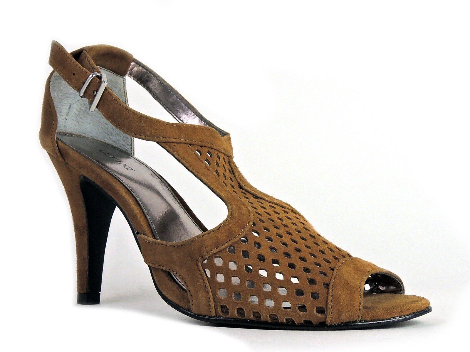 Alfani Women's Elyssa T-Strap Sandals Brown Leather Size 8.5 M