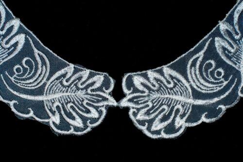 40152 Colletto di merletto organza ricamato-design foglia