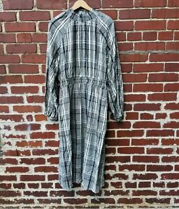 Womens Size Large Dress A New Day brand Long sleeve Black & White Plaid NWOT