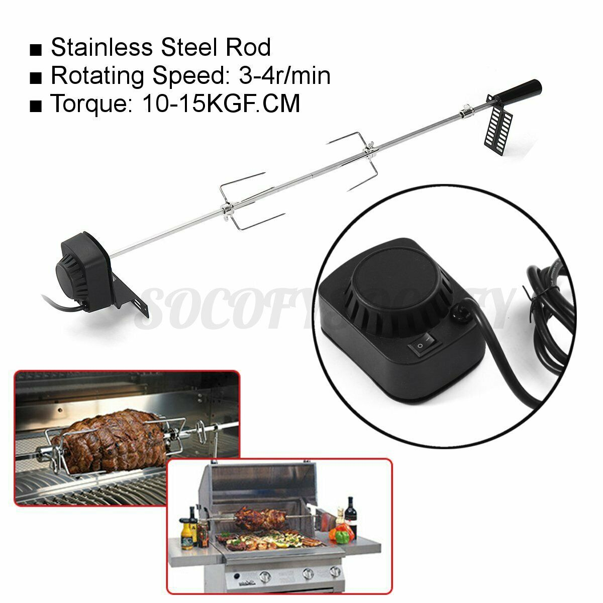 Yardwe Stainless Steel Grill Rotisserie Forks Meat Spit Rods Barbecue Rotating Universal Rotisserie Grill System for BBQ