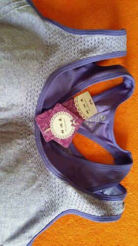 BNWT Women/'s Mid Impact Smooth Racerback Padded Sports Bra Purple UK 8//10