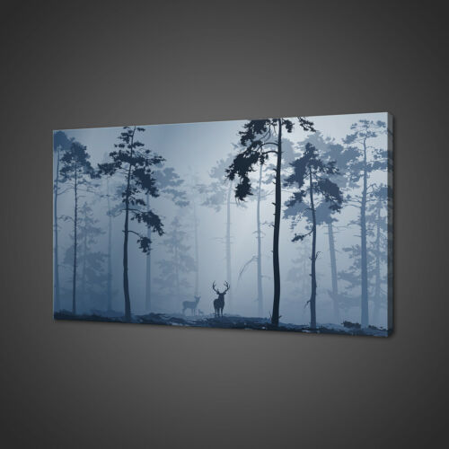 DEER FAMILY BLUE CANVAS PICTURE PRINT WALL ART HOME DECOR FREE FAST DELIVERY