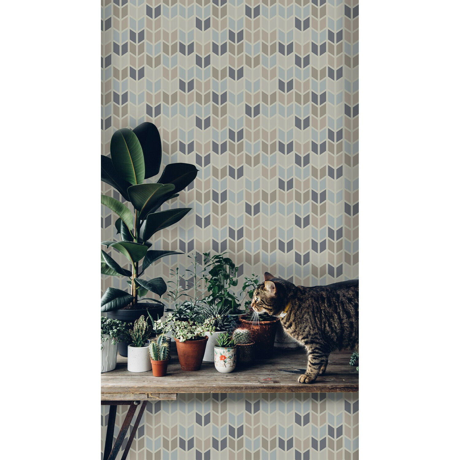 Geometric texture in pastel tints self-adhesive bluee and brown wall mural wall
