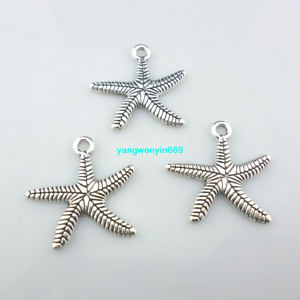 12//36pcs Jewelry Making Tibetan Silver starfish Charm Pendants 25*24.5mm